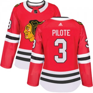 Women's Chicago Blackhawks Pierre Pilote Adidas Authentic Home Jersey - Red