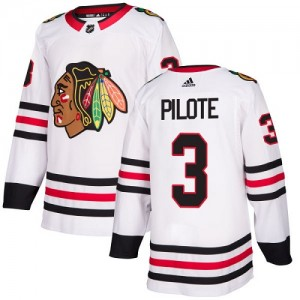 Youth Chicago Blackhawks Pierre Pilote Adidas Authentic Away Jersey - White
