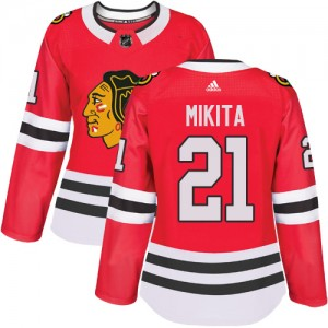 Women's Chicago Blackhawks Stan Mikita Adidas Authentic Home Jersey - Red