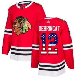 Men's Chicago Blackhawks Alex DeBrincat Adidas Authentic USA Flag Fashion Jersey - Red