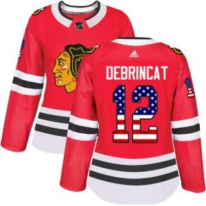 Women's Chicago Blackhawks Alex DeBrincat Adidas Authentic USA Flag Fashion Jersey - Red