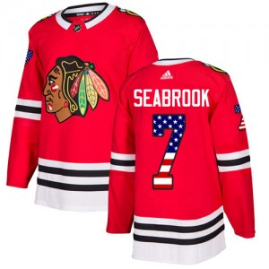 Men's Chicago Blackhawks Brent Seabrook Adidas Authentic USA Flag Fashion Jersey - Red