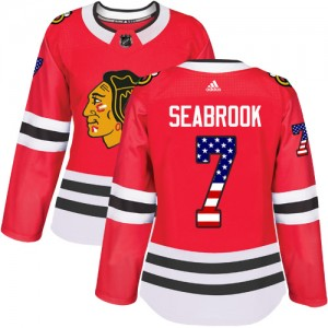 Women's Chicago Blackhawks Brent Seabrook Adidas Authentic USA Flag Fashion Jersey - Red