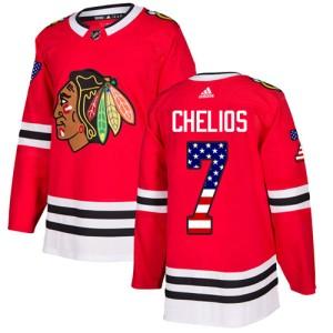 Men's Chicago Blackhawks Chris Chelios Adidas Authentic USA Flag Fashion Jersey - Red