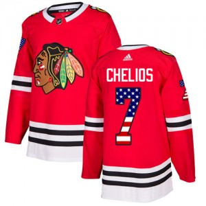 Youth Chicago Blackhawks Chris Chelios Adidas Authentic USA Flag Fashion Jersey - Red
