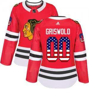 Women's Chicago Blackhawks Clark Griswold Adidas Authentic USA Flag Fashion Jersey - Red