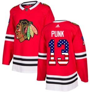 Men's Chicago Blackhawks CM Punk Adidas Authentic USA Flag Fashion Jersey - Red