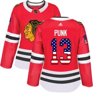 Women's Chicago Blackhawks CM Punk Adidas Authentic USA Flag Fashion Jersey - Red
