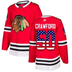 Men's Chicago Blackhawks Corey Crawford Adidas Authentic USA Flag Fashion Jersey - Red