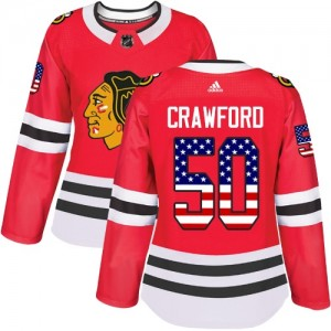 Women's Chicago Blackhawks Corey Crawford Adidas Authentic USA Flag Fashion Jersey - Red
