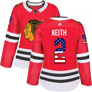 Women's Chicago Blackhawks Duncan Keith Adidas Authentic USA Flag Fashion Jersey - Red