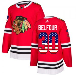 Men's Chicago Blackhawks ED Belfour Adidas Authentic USA Flag Fashion Jersey - Red