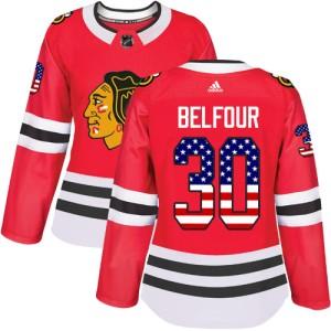 Women's Chicago Blackhawks ED Belfour Adidas Authentic USA Flag Fashion Jersey - Red