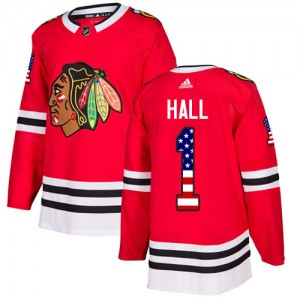 Men's Chicago Blackhawks Glenn Hall Adidas Authentic USA Flag Fashion Jersey - Red