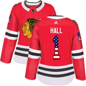Women's Chicago Blackhawks Glenn Hall Adidas Authentic USA Flag Fashion Jersey - Red