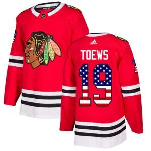 Men's Chicago Blackhawks Jonathan Toews Adidas Authentic USA Flag Fashion Jersey - Red
