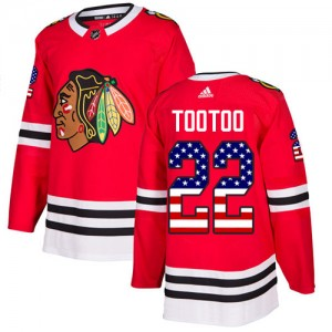 Men's Chicago Blackhawks Jordin Tootoo Adidas Authentic USA Flag Fashion Jersey - Red