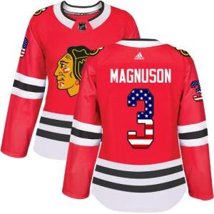 Women's Chicago Blackhawks Keith Magnuson Adidas Authentic USA Flag Fashion Jersey - Red