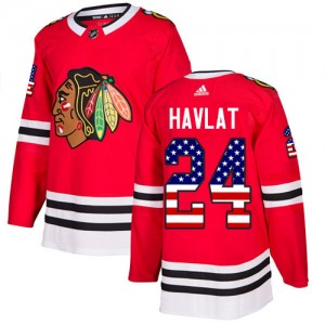 Men's Chicago Blackhawks Martin Havlat Adidas Authentic USA Flag Fashion Jersey - Red