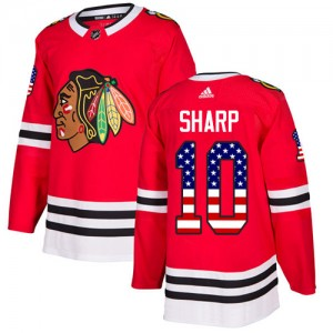 Men's Chicago Blackhawks Patrick Sharp Adidas Authentic USA Flag Fashion Jersey - Red