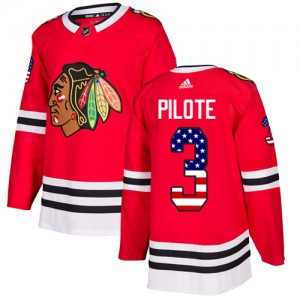 Men's Chicago Blackhawks Pierre Pilote Adidas Authentic USA Flag Fashion Jersey - Red