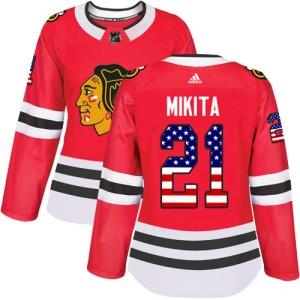 Women's Chicago Blackhawks Stan Mikita Adidas Authentic USA Flag Fashion Jersey - Red