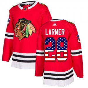 Men's Chicago Blackhawks Steve Larmer Adidas Authentic USA Flag Fashion Jersey - Red