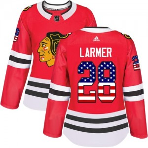 Women's Chicago Blackhawks Steve Larmer Adidas Authentic USA Flag Fashion Jersey - Red