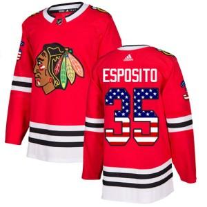 Men's Chicago Blackhawks Tony Esposito Adidas Authentic USA Flag Fashion Jersey - Red